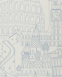 W0015 Blue Wallpaper by  Clarke and Clarke Wallpaper