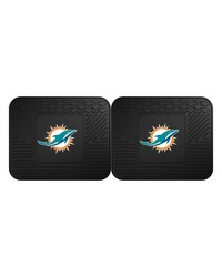 NFL Miami Dolphins Backseat Utility Mats 2 Pack 14x17 by