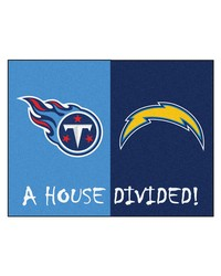 NFL San Diego Chargers Tennessee Titans House Divided Rugs 34x45 by