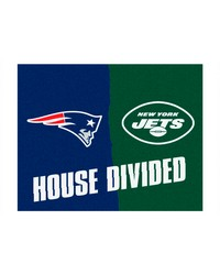 NFL New England Patriots New York Jets House Divided Rugs 34x45 by