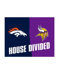NFL Denver Broncos Minnesota Vikings House Divided Rugs 34x45 by