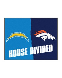 NFL San Diego Chargers Denver Broncos House Divided Rugs 34x45 by