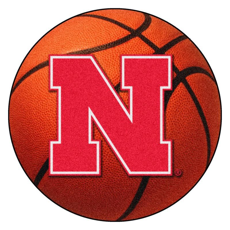 Large Basketball Area Rug: Nebraska Cornhuskers Basketball Rug