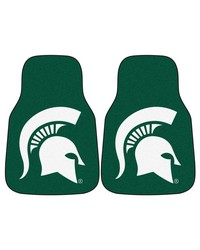 Michigan State 2piece Carpeted Car Mats 18x27 by