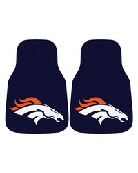 NFL Denver Broncos 2piece Carpeted Car Mats 18x27 by