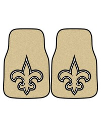 NFL New Orleans Saints 2piece Carpeted Car Mats 18x27 by