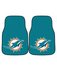 NFL Miami Dolphins 2piece Carpeted Car Mats 18x27 by
