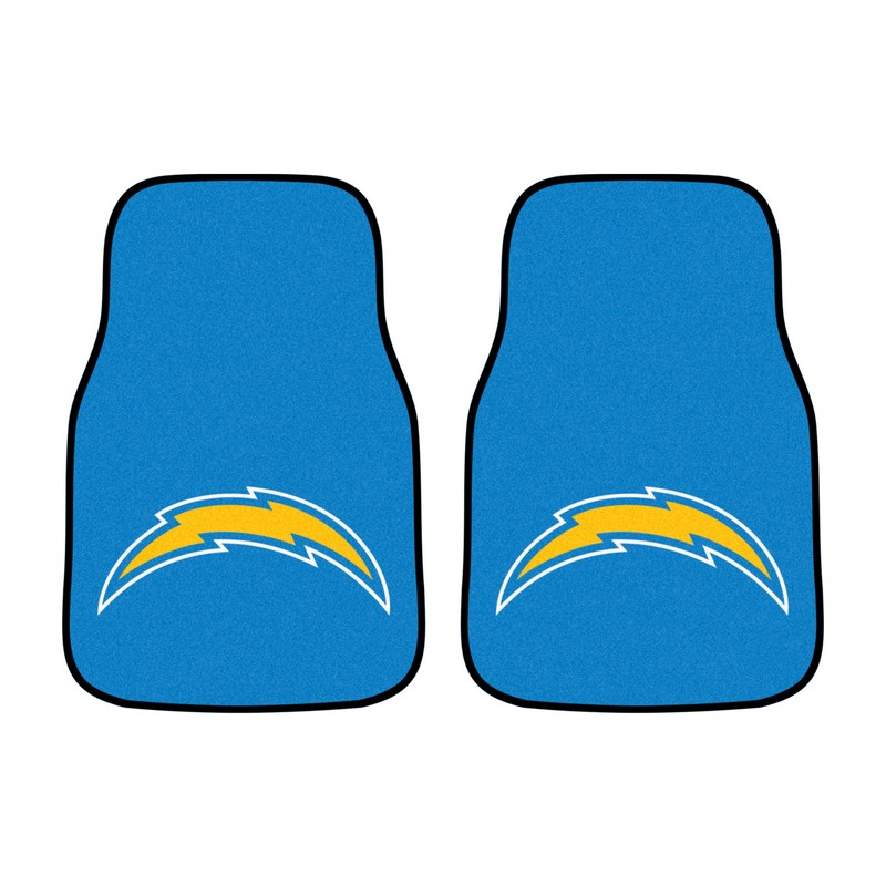 Nfl San Diego Chargers 2piece Carpeted Car Mats 18x27