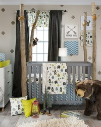North Country 3Pc Set Includes quilt bear print sheet crib skirt by