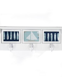 Little Sail Boat Photo Hanger Shelf White by