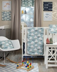 3Pc Set Includes quilt  anchor print sheet crib skirt by