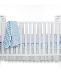3Pc Set Includes quilt  grey micro dot sheet crib skirt by