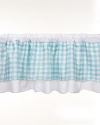 Window Valance White w Spa plaid Aprox 70 in  x 18 in  by