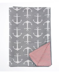Fish Tales Full Queen Duvet Anchor   Red Print Reversible 87x91 in  by