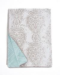 Soho Full Queen Duvet Vintage Print  Aqua Print Reversible 87x91 in  by
