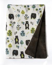 Twin Duvet Bear Print Reversable Charcoal Velvet 62x91 in  by