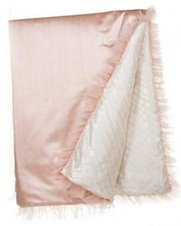 Full Queen Duvet Rev Pink Strie  Cream Pintuck 87x91 in  by