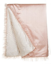 Twin Duvet Reversible Pink Strie  Cream Pintuck 62x91 in  by