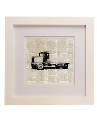 Traffic Jam Framed Wall Art  Flatbed Truck Print 14x14x.75 in  by