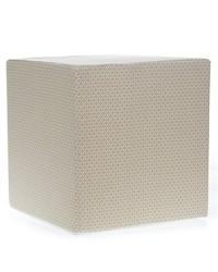 Luna Pouf  Tan  White 17x17x17 in ; Firm Foam Filler; Zipper Closure by
