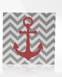 Fish Tales Canvas Wall Art Grey Chevron Anchor by