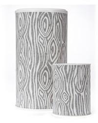 Lil Hoot Hamper  Waste Can Set 23.5x13x13  11x8.5x8.5 Grey Wood Print by