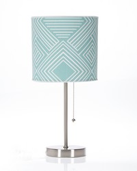 Soho Mod Table Lamp with Aqua Print Shade 18x8.5x8.5 in ; 60 W by