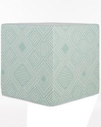Soho Pouf  Aqua Print 17x17x17 in ; Firm Foam Filler; Zipper Closure by