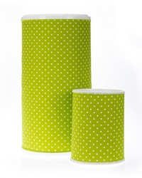 Pippin Hamper  Waste Can Set 23.5x13x13  11x8.5x8.5 Green dot by