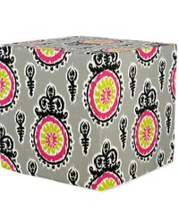 Pippin Pouf  Print 17x17x17 Firm Foam Fill; Zipper Closure by