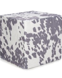 Twiggy Pouf  Grey  White Faux Cowhide 17x17x17 in ; Firm Foam Filler; Zipper Closure by