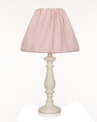White Lamp W Pink Gingham Shade by