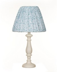 White Lamp W Aqua Print Shade by
