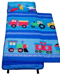 Olive Kids Trains Planes Trucks Cotton Nap Mat Blue by