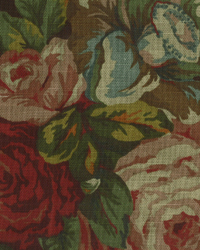 Brown Large Print Floral Fabric  English Garden Brown