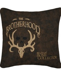 Brotherhood Square Pillow  Dark Brown by