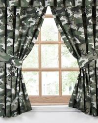 Buckmark Camo Green Rod Pocket Curtains by