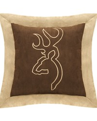 Buckmark Suede Square Pillow  Brown with Flange by