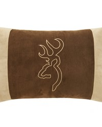Buckmark Suede Oblong Pillow  Brown by