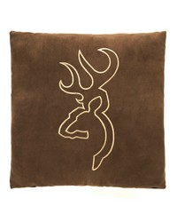 Buckmark Suede Square Pillow  Brown no Flange by