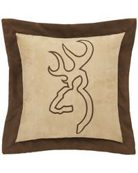 Buckmark Suede Square Pillow  Tan with Flange by
