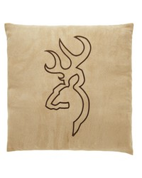 Buckmark Suede Square Pillow  Tan no Flange by