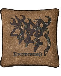 3D Buckmark Square Pillow 20 inch Tan by