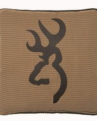 Oak Tree Buckmark Square Logo Pillow Tan by