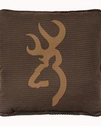 Oak Tree Buckmark Square Logo Pillow Brown by