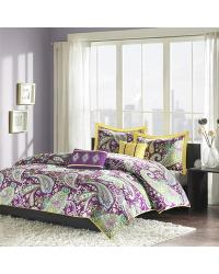 Melissa 5 Piece Comforter Set Full Queen Purple by