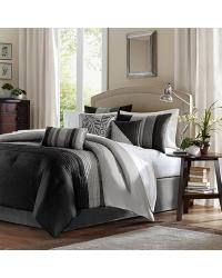 Madison Park Amherst Comforter Set Queen Black by