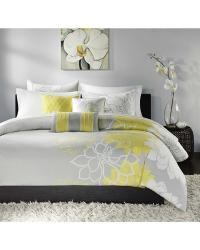 Lola Duvet Cover Set Queen Yellow by