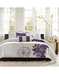 Lola Duvet Cover Set Queen Purple by