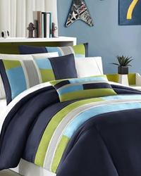 Pipeline Comforter Set Queen Full Blue by